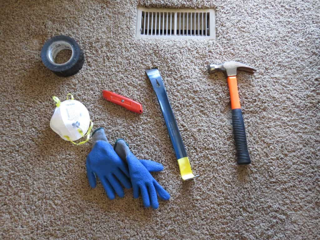 Tools you need to remove carpet, padding and tack strips.