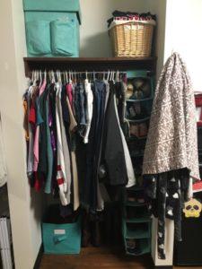Closet organization for dorm life