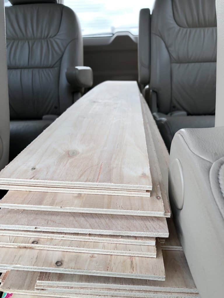 Getting the wood home in my van for my farmhouse style laundry room.