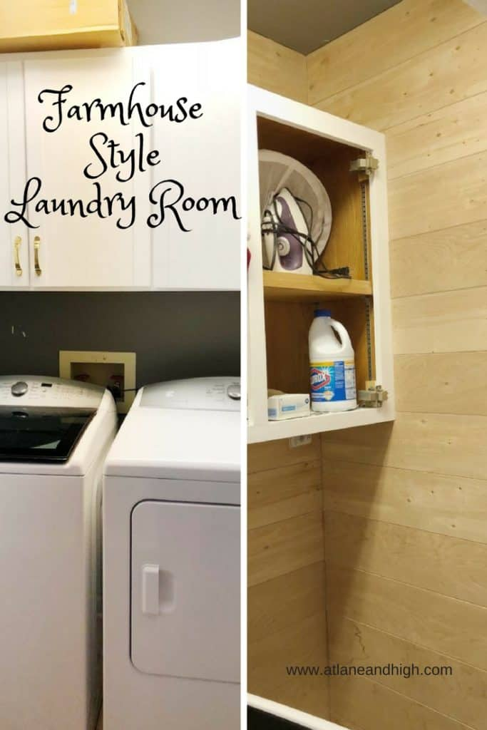 Farmhouse Style Laundry Room Before and after progress made