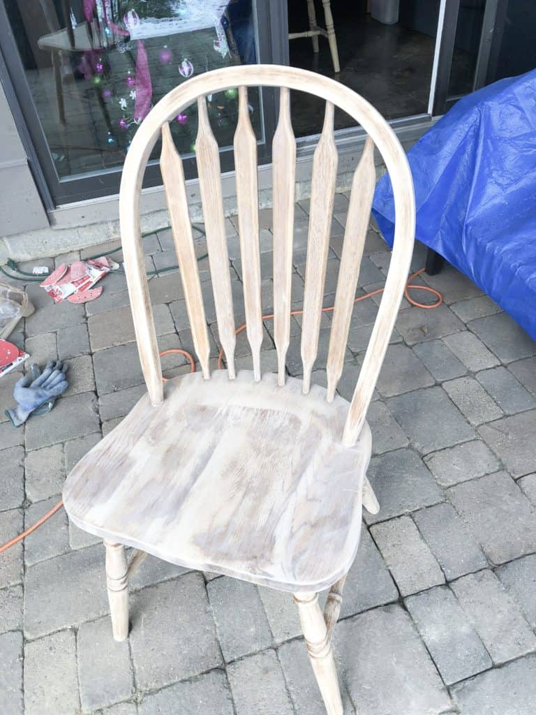 The kitchen chair sanded down.