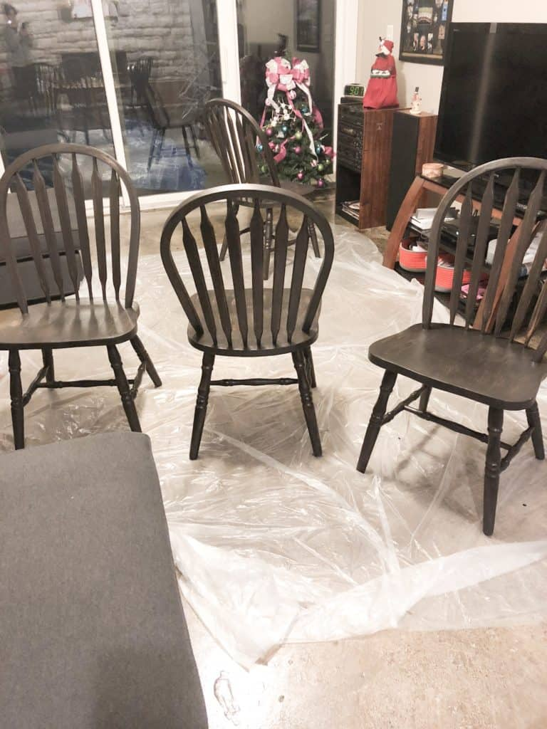 All the chairs with one coat of paint.