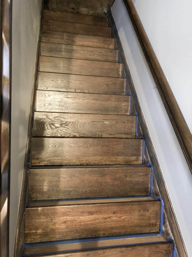 here are the stairs after I stained them a dark brown color.