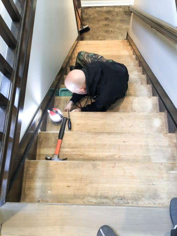 A while ago I posted on my basement floor reno plan. We are on step 2, refinishing the basement steps. Here is Week 1 on How to Refinsh Steps.