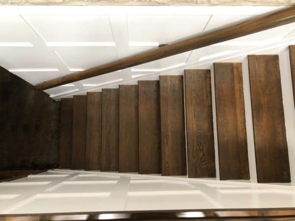 Phase 2 of my basement Reno plan is complete! I have refinished the ugly brown carpeted stairs and created a beautiful wood staircase with box molding on the wall! I am so please with the results and hope you are inspired to do it in your home!