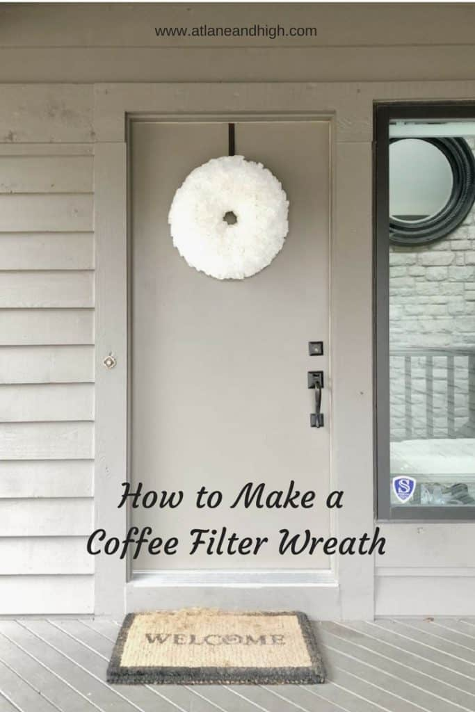 I love having a wreath on my front door and I especially love changing them for the different holidays and seasons.  I created this wreath out of coffee filters!  Its so big and fluffy I just love it.  Stick around and I will teach you how to make a coffee filter wreath!