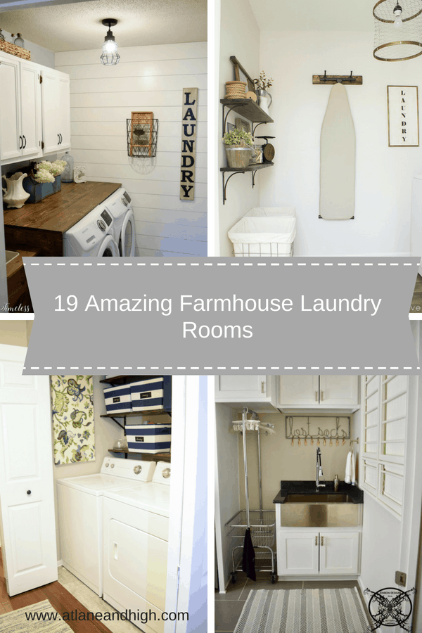 What is the most forgotten room in the house when you think of decorating....the laundry room!  It's a room that only you and your family sees but if you have children then you spend a decent amount of time in there. Today I have put together 19 Inspirational Farmhouse Laundry Rooms for you to get ideas from and make your laundry room a nice room to spend time in.