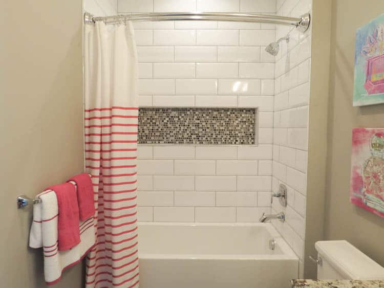 A bathroom with the back wall having a niche with an accented tile.