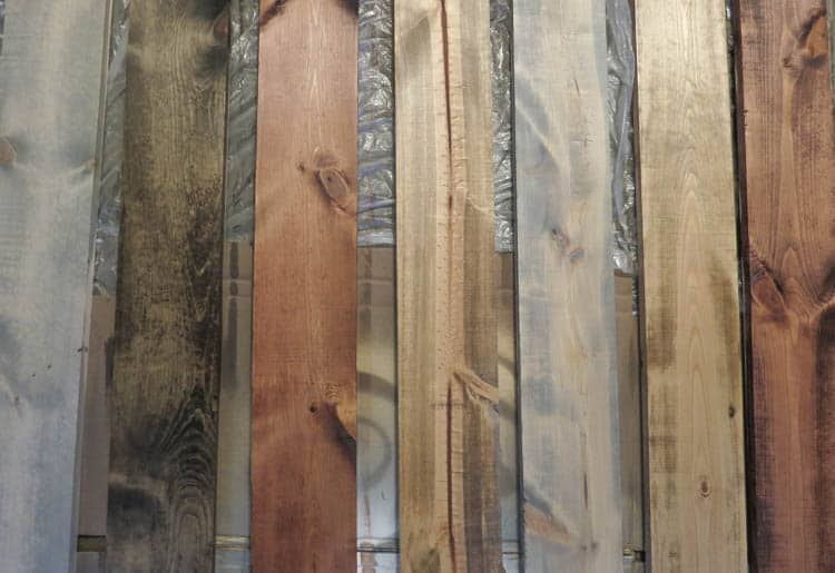 I have 4 different colors of wood that I stained here.