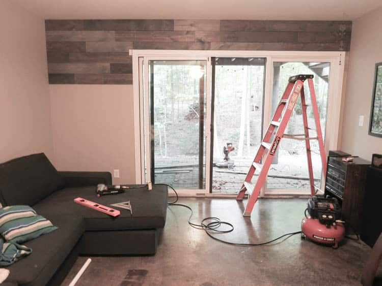 The reclaimed wood wall about halfway done.