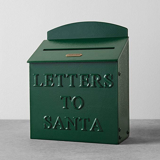 This is a vintage mailbox with the words letters to Santa on it.