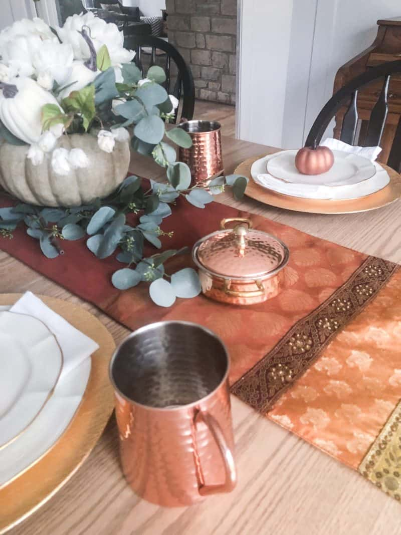Thanksgiving Table Setting using copper and gold.