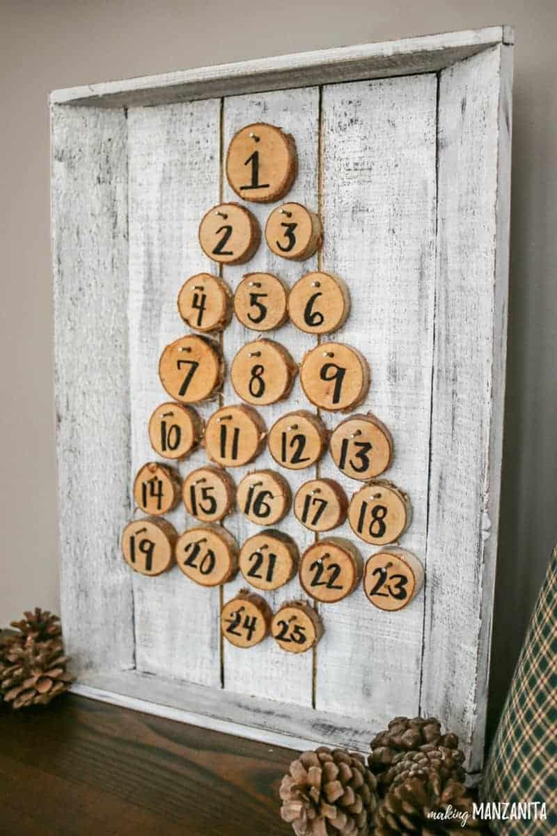 Farmhouse Christmas Decor, an advent calendar in the shape of a christmas tree.