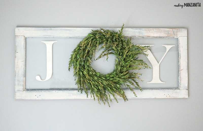 Farmhouse Christmas Decor, a JOY sign with a wreath for the O