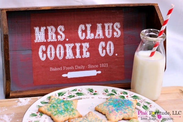 Farmhouse Christmas Decor, a Mrs. Claus cookie tray with cookies and milk