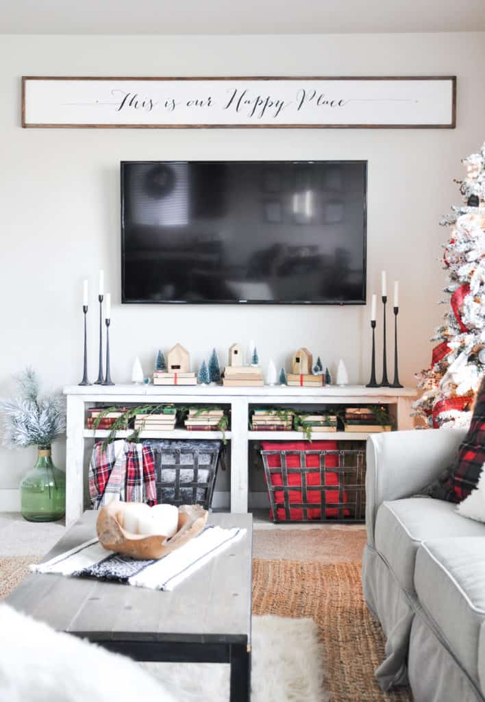 Mantel decorations for Christmas, no mantel decor - how to decorate when you don't have a fireplace. use a console table instead