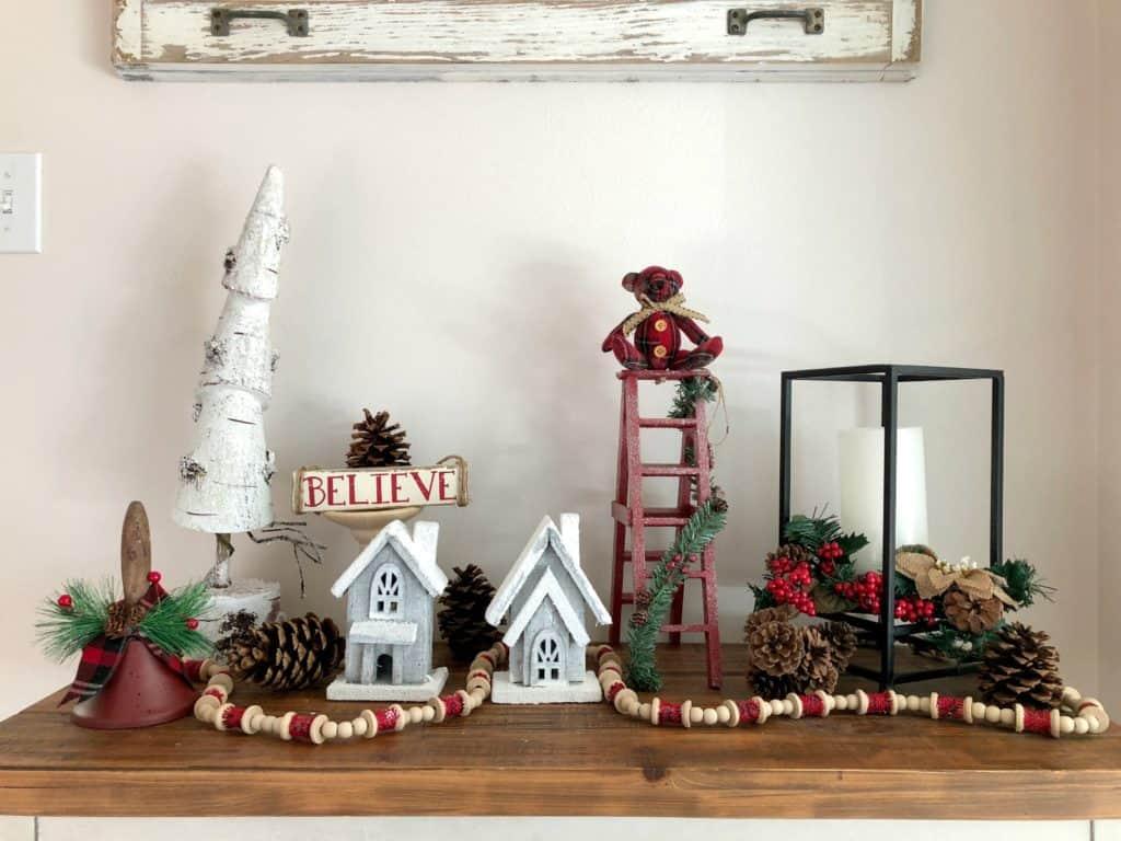 Farmhouse Christmas decor, tabletop decor from the dollar store.