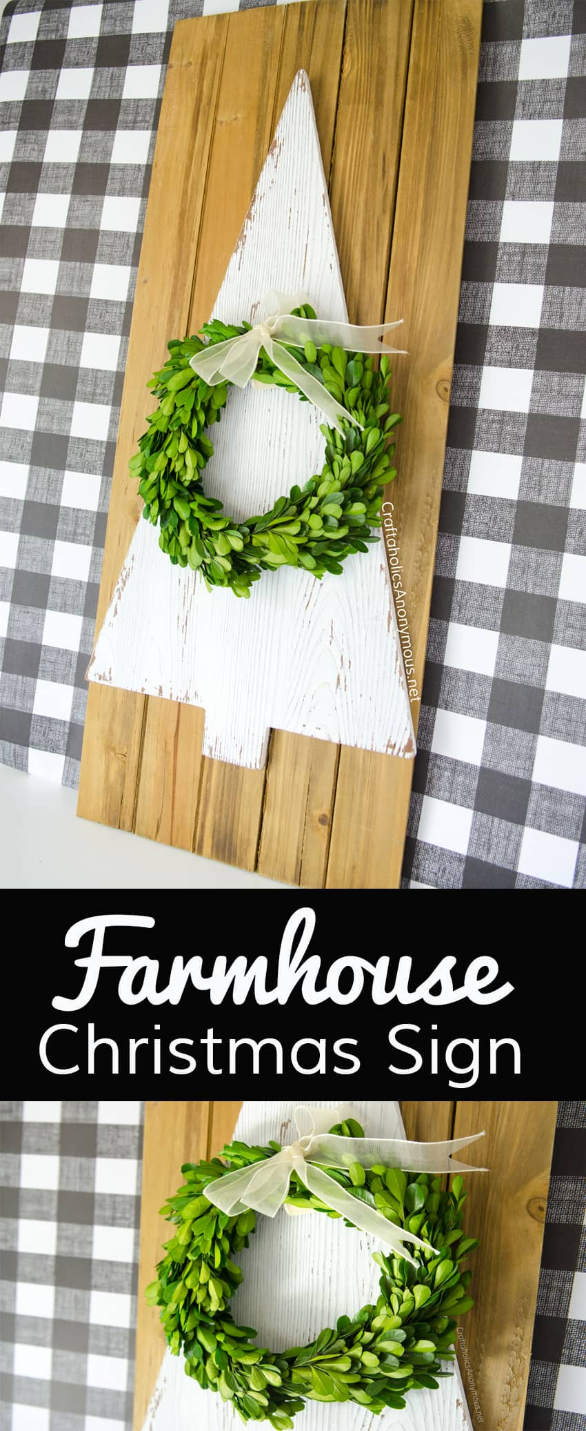 Farmhouse Christmas sign with a tree and a wreath on it