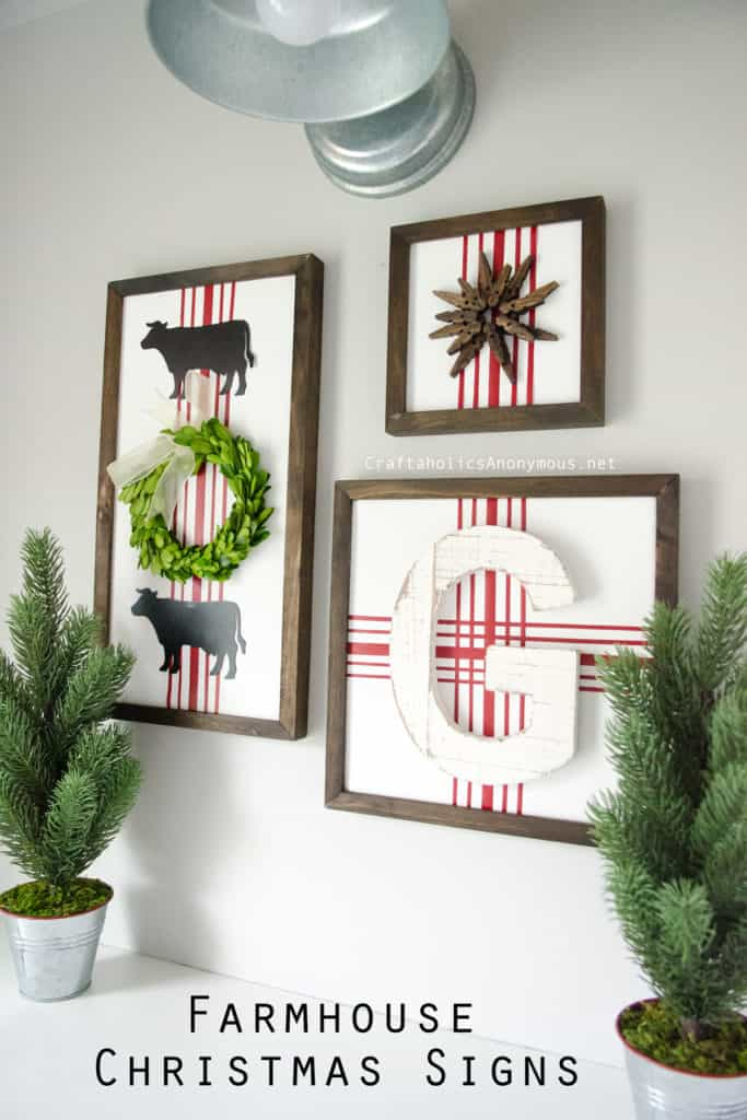 Farmhouse Christmas Decor, farmhouse signs with red and white stripes