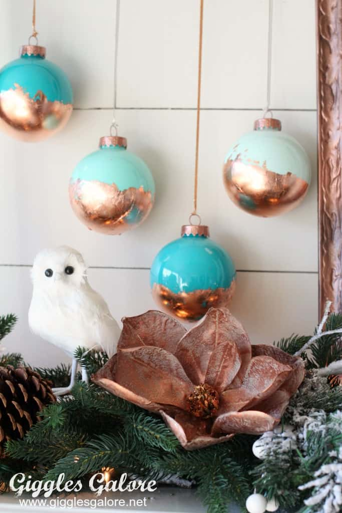 Farmhouse christmas decor gold and mint green ornaments with garland