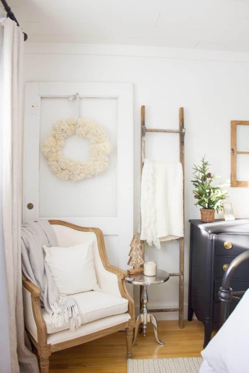Farmhouse Christmas Decor bedroom decor with wreath and table top tree