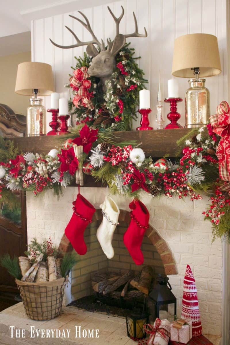 Mantel Decorations for Christmas - full pretty garland with lots of red and white decor accents