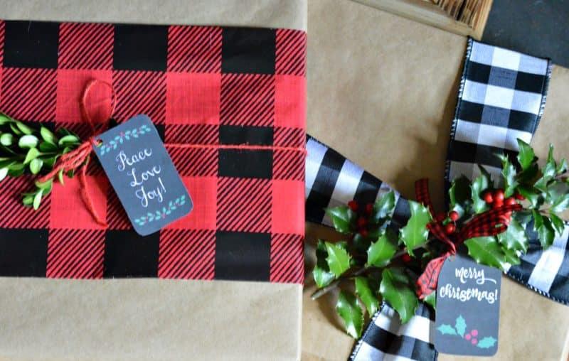 diy farmhouse gift wrap using buffalo check pattern