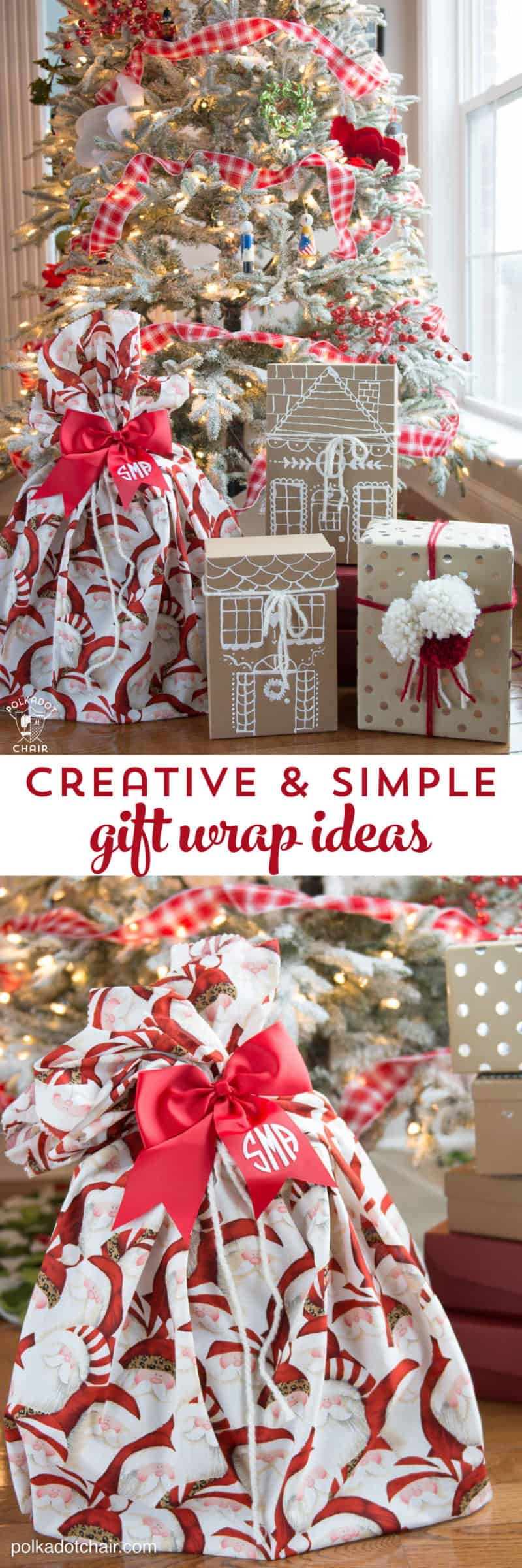 diy gift wrap ideas cfreating a homemade Santa sac and others with craft paper