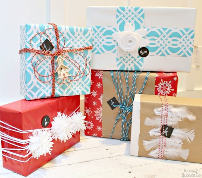 diy gift wrap ideas using paper as accents on different packages