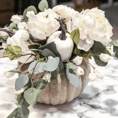 Finished pumpkin floral arrangement