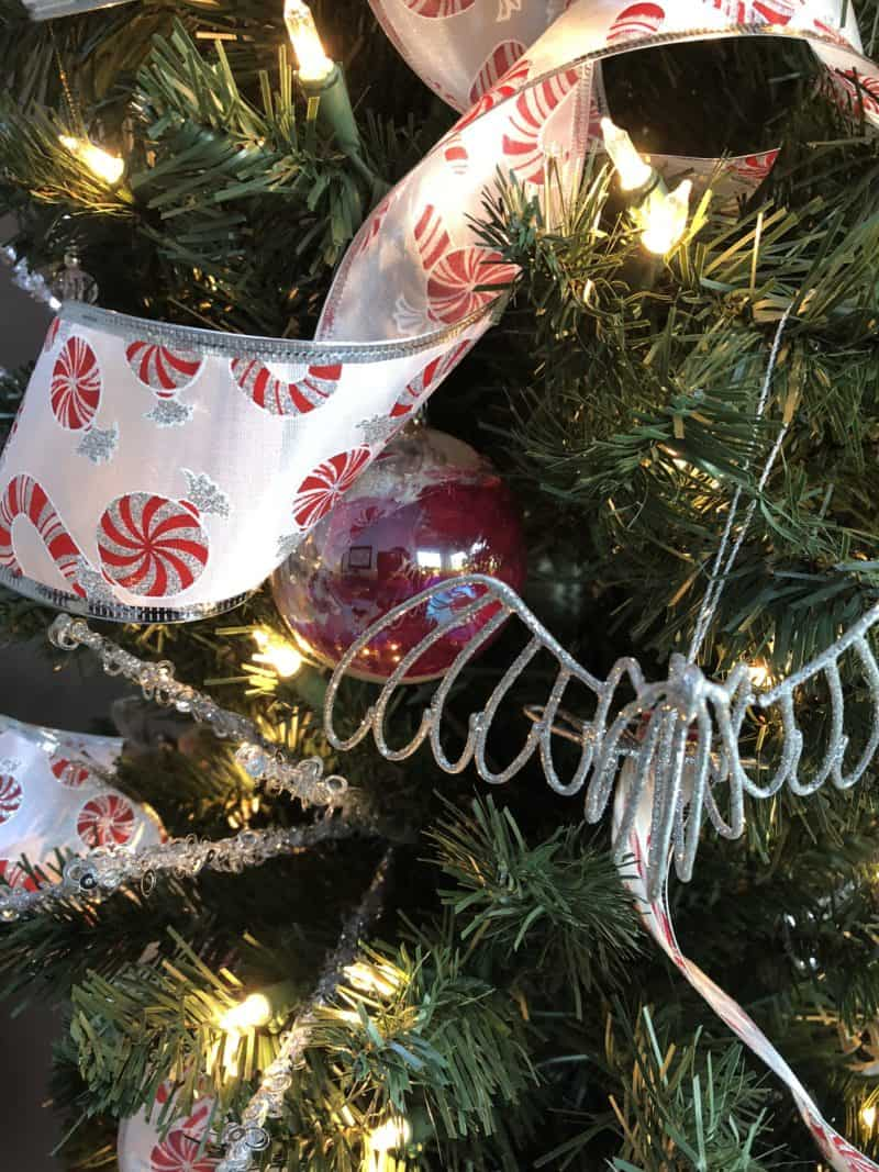 DIY marbled ornament on tree.