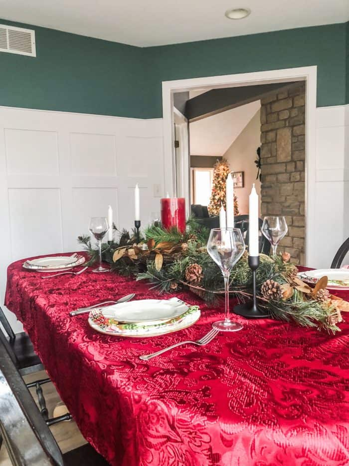Christmas Table Setting with Red tablecloth.