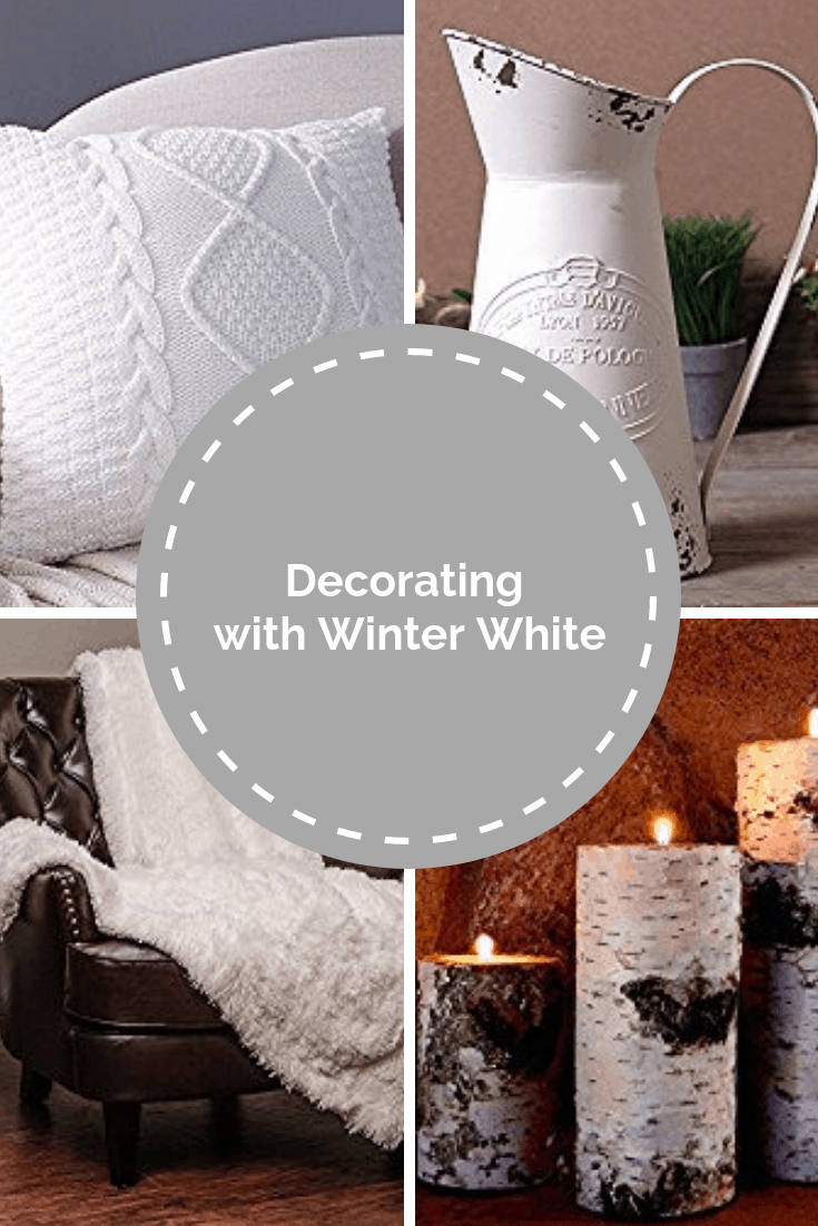 Pin for Pinterest for decorating with winter whites.