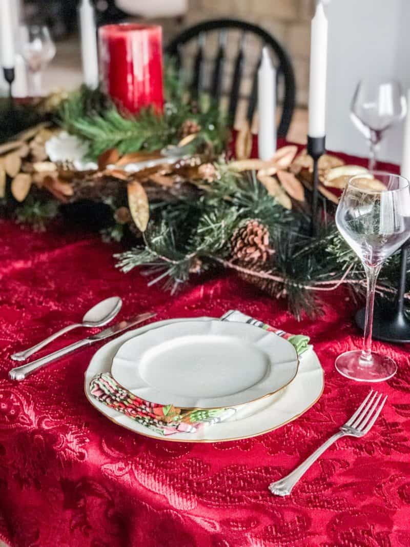 A view of one of the place settings at why Christmas Table.