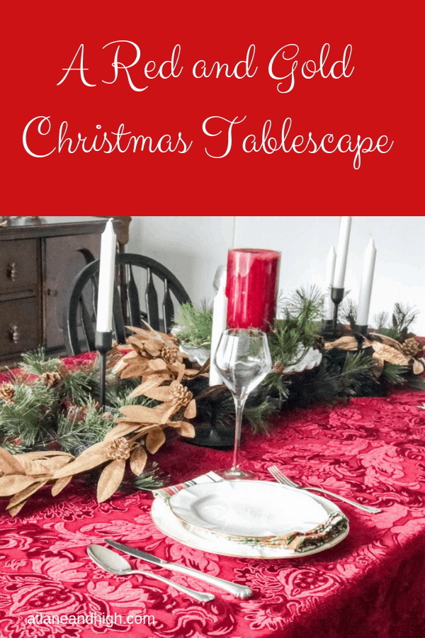 Red and Gold Christmas Table Setting pin
