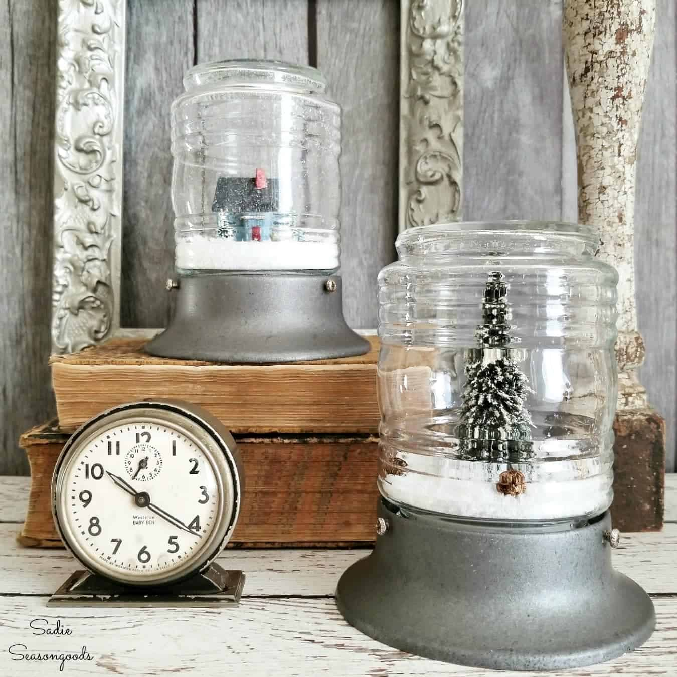Wintery scenes in jars, great use for Winter Decor.