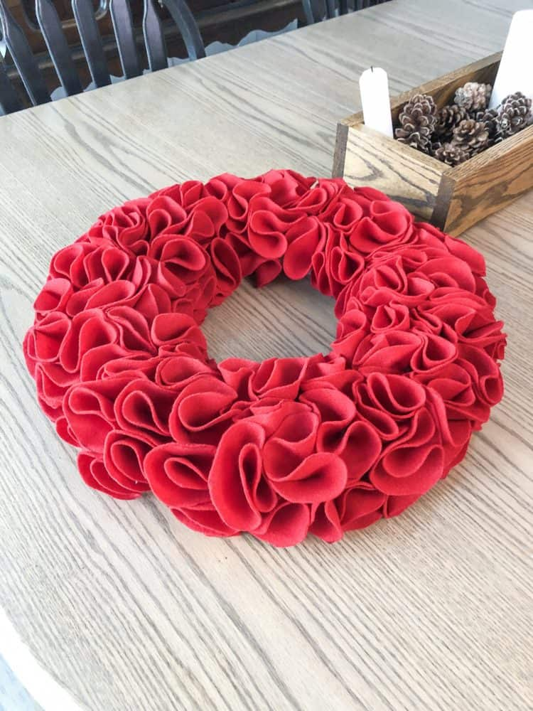 The finished wreath sitting on my kitchen table.