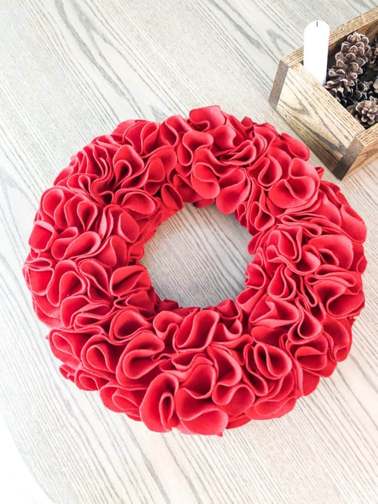 The finished wreath on my kitchen table.