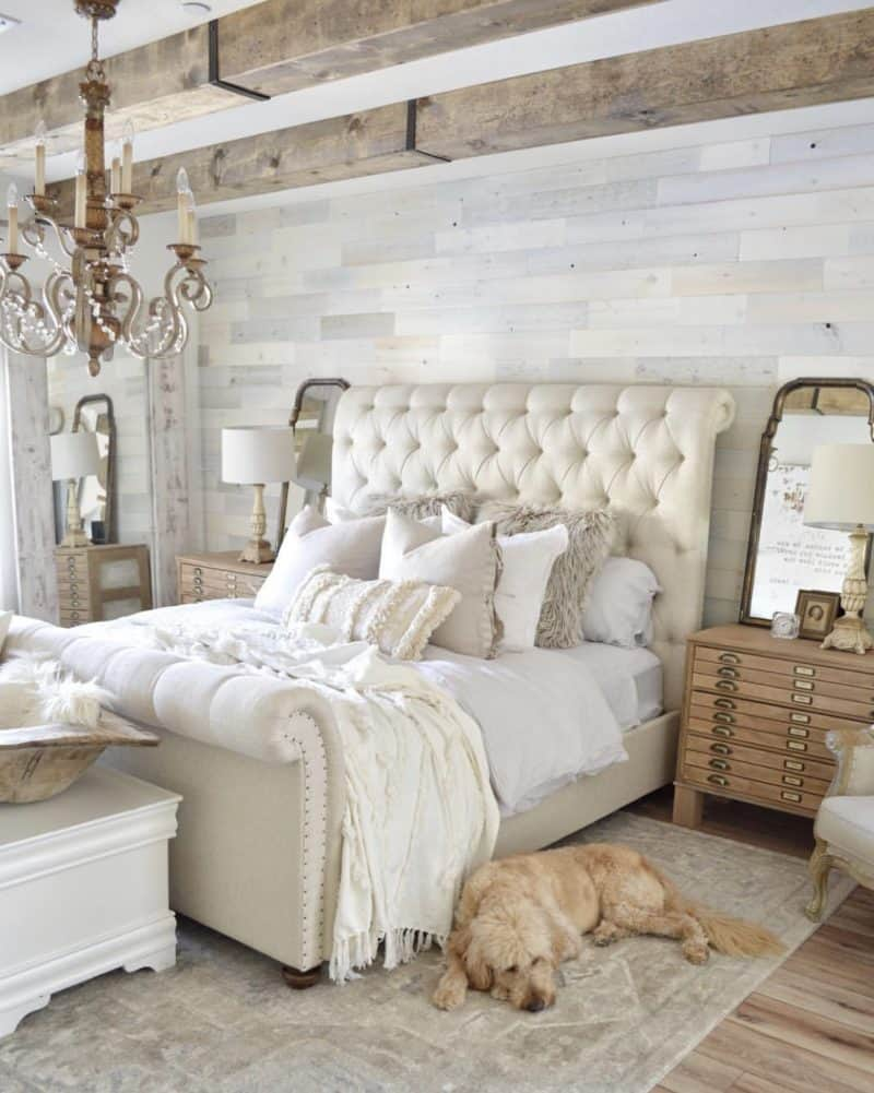 beige tufted headboard, reclaimed wood wall and the cutest dog on a pretty rug.