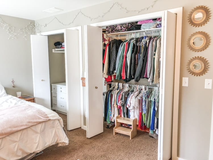 The two closets that need closet organization.