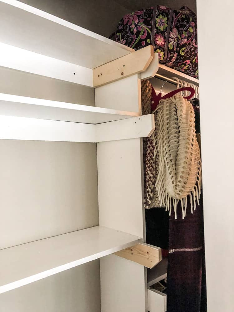Image of new shelves in closet.