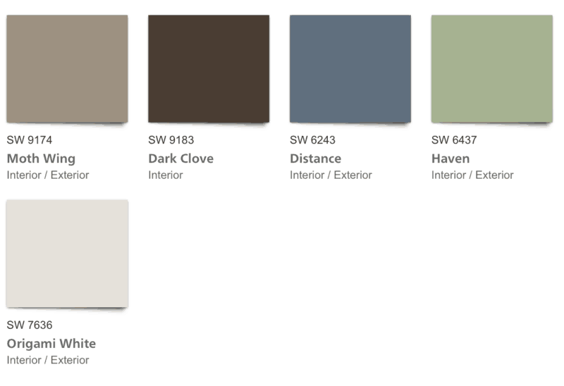 Sherwin Williams paint color trends palette 2019.