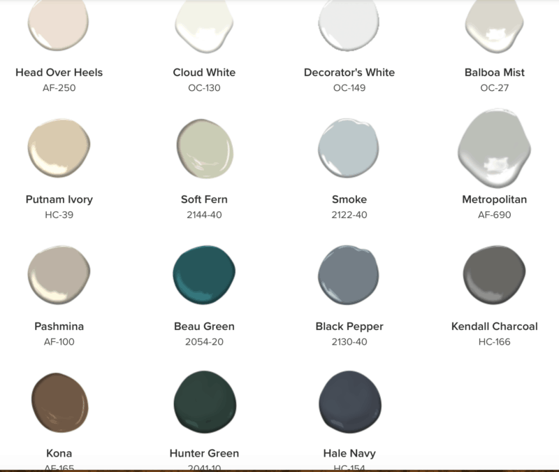 Benjamin Moore paint color trends palette for 2019.