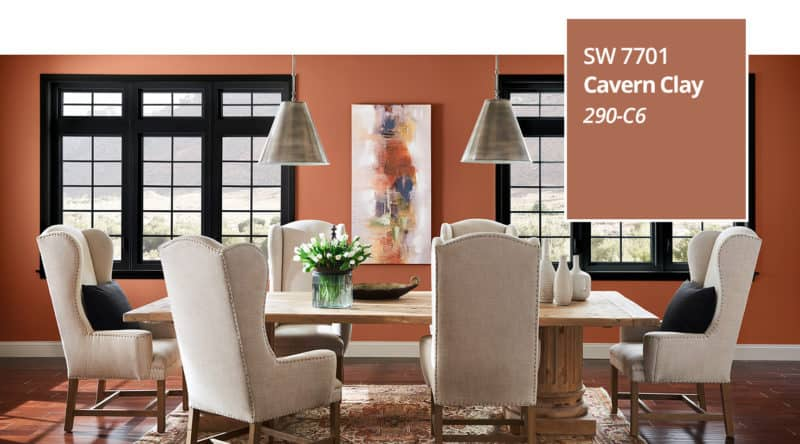 Sherwin Williams Cavern Clay paint color of the year 2019.