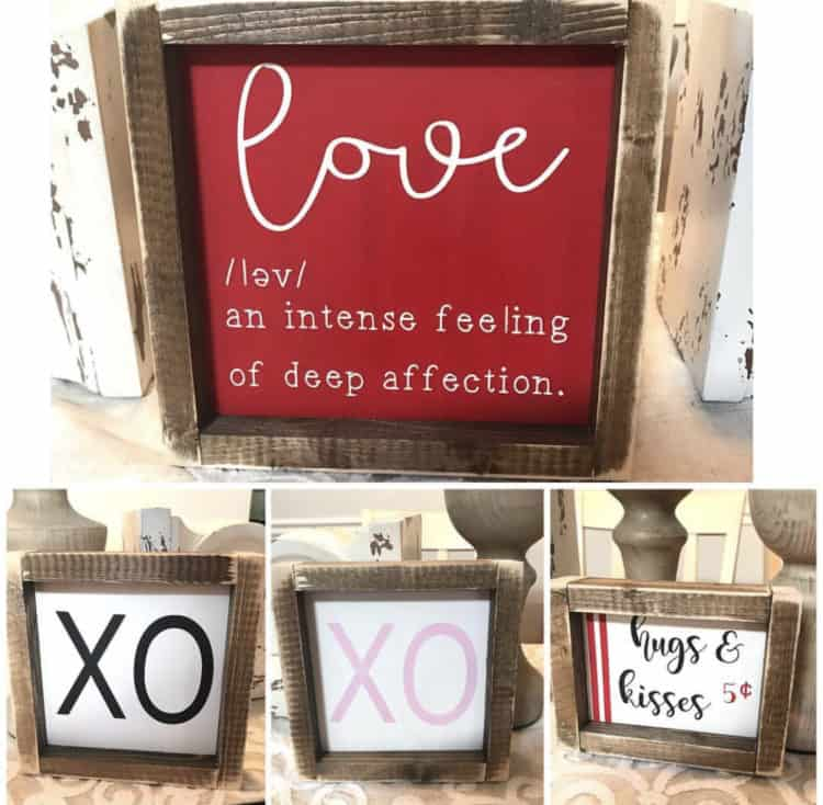 Farmhouse Signs with the work love, XO and hugs and kisses.