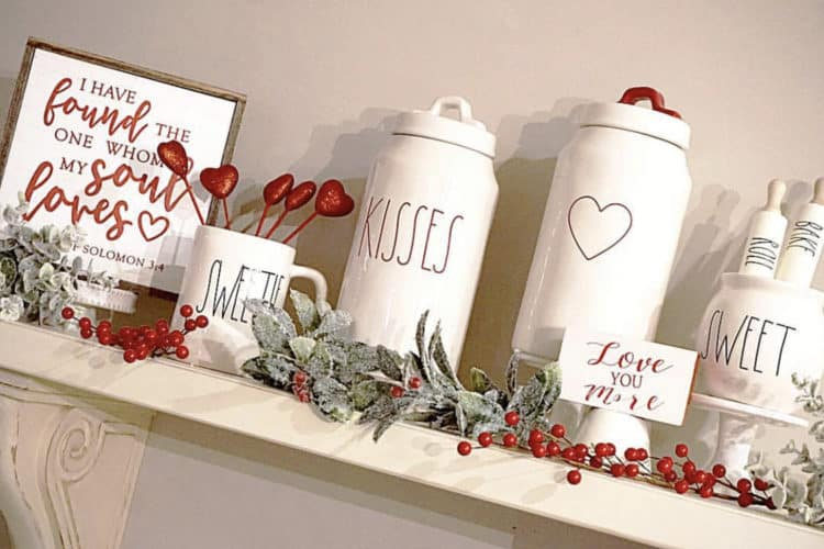Valentines Rae Dunn Canisters with Red accents.