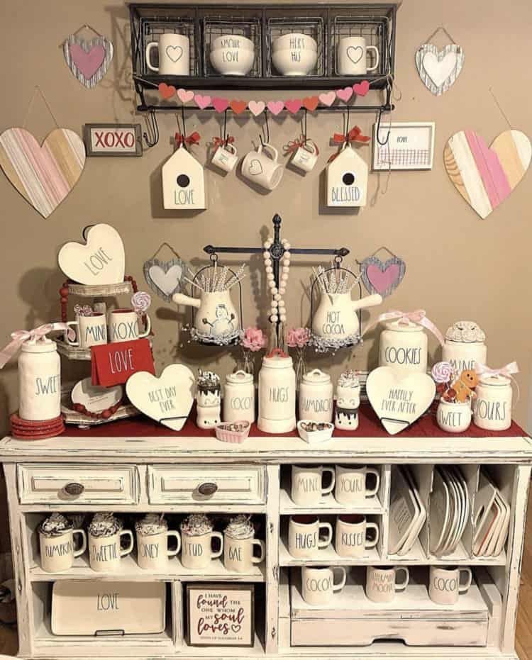 This is an amazing display of Valentines Rae Dunn pottery.