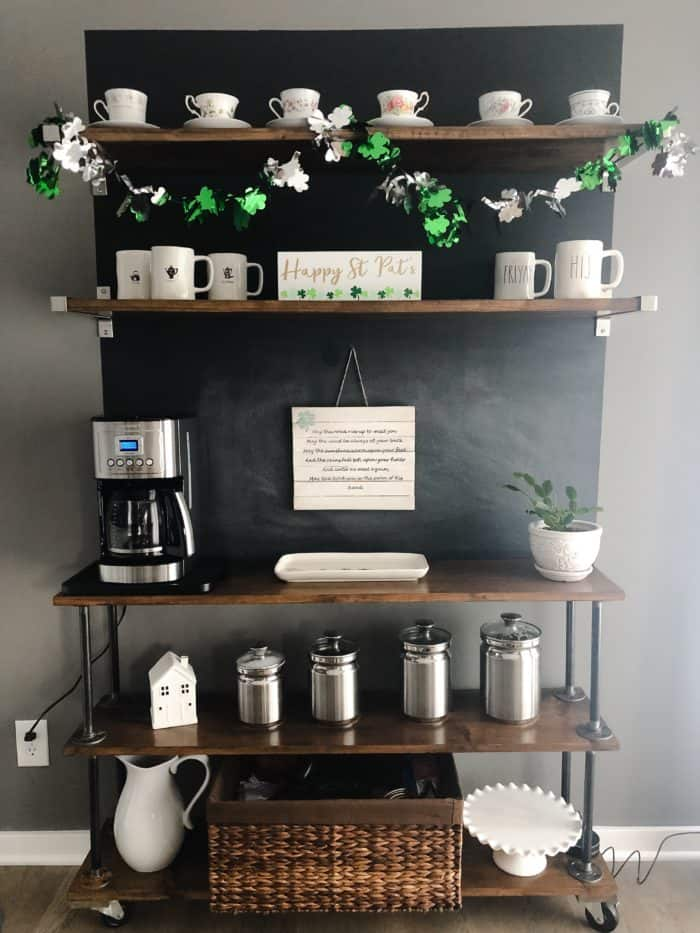 A full view of my coffee bar with St. Patrick's Day Decorations.