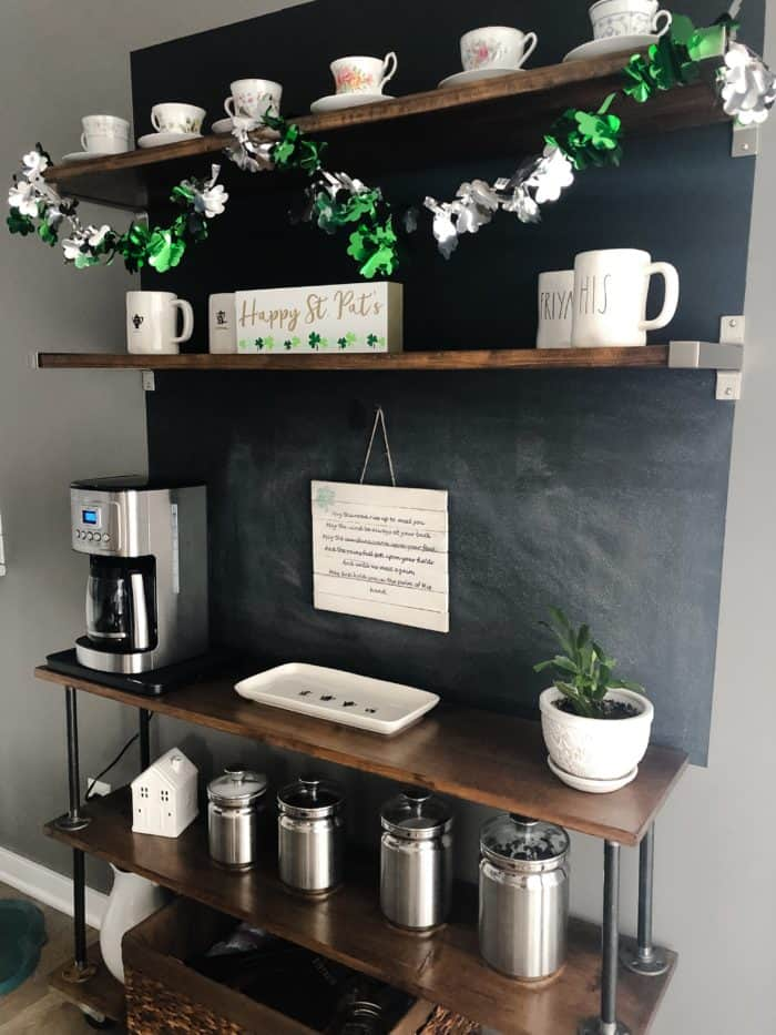 A side view of the coffee bar with St. Patricks Day Decorations,.