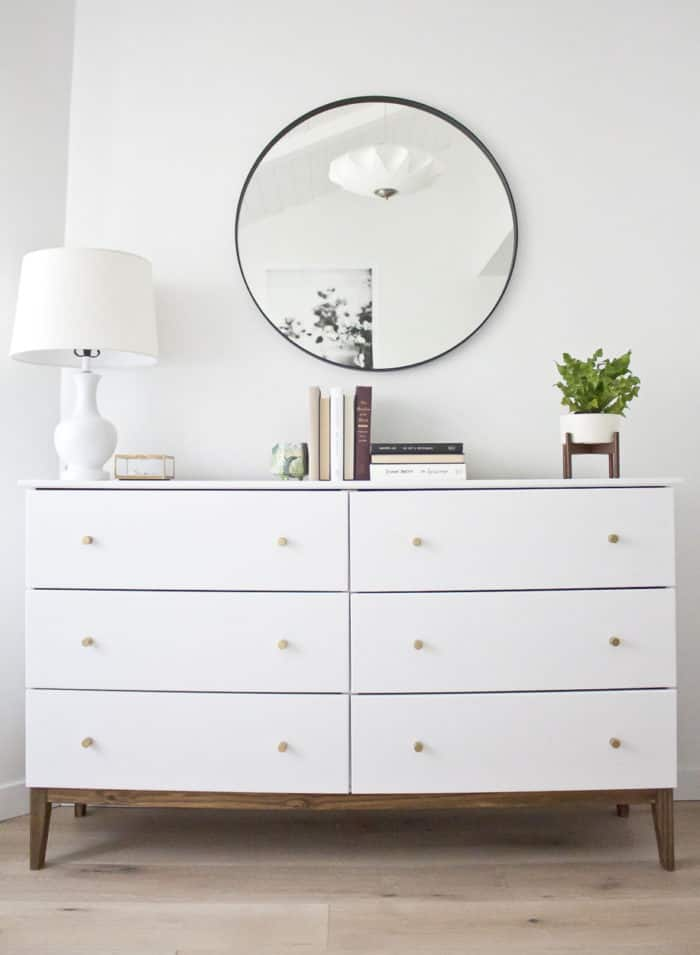 Ikea hack, creating a knock off West Elm dresser from a pine dresser from IKEA